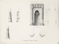 Rani Sipras (left),  Ahmad Shah's mosque duplicate [front elevation] (right), In Darvish Ali's tomb (bottom)